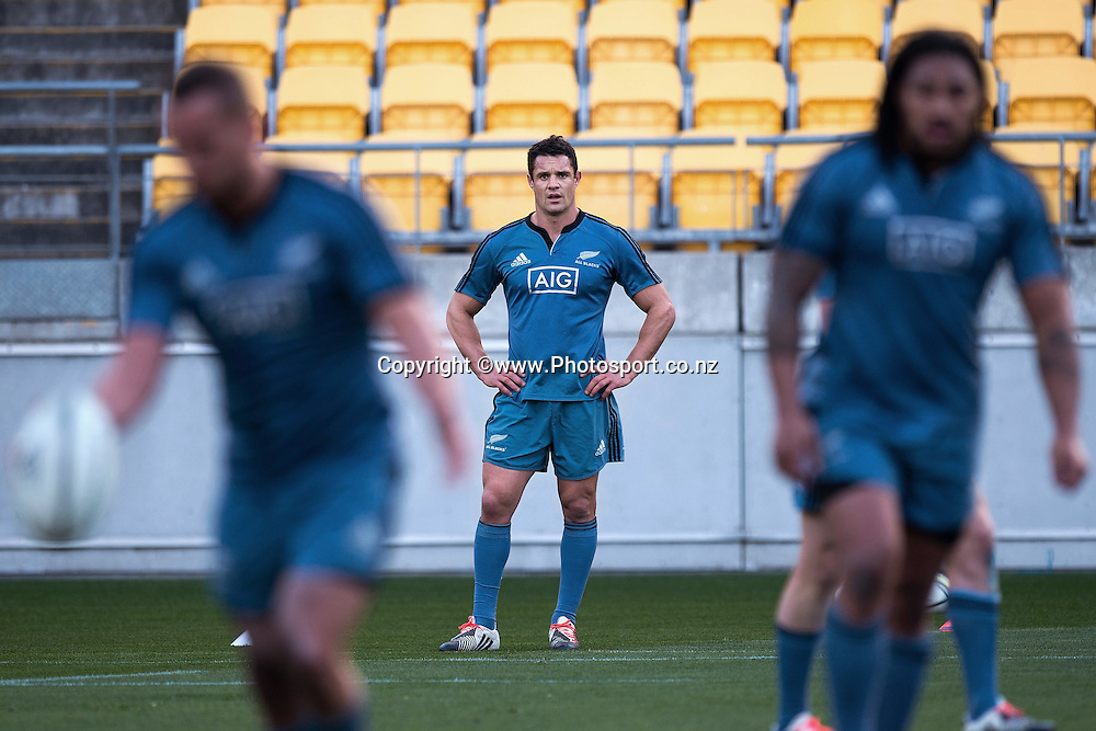 Dan Carter of the All Blacks watches training during a All Blacks Training session at the Westpac Stadium in Wellington on Thursday the 11th of September 2014. Photo by Marty Melville/www.Photosport.co.nz