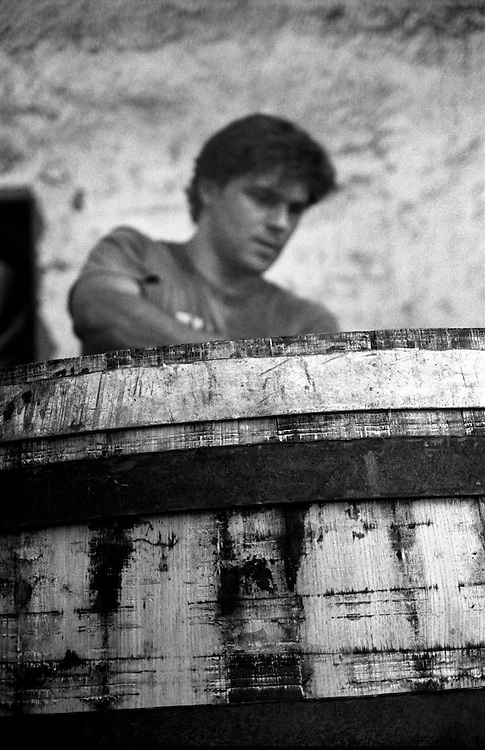 Marc-Olivier Kennel working on a barrel. Marc-Olivier and his younger brother Vincent are the seventh generation of Provencal Coopers and the last in the region.