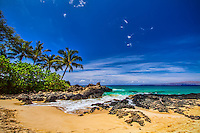 Makena Cove in Maui, also known as Secret Beach.  A pristine and scenic, secluded beach along Maui's coastline provides a spectacular view.