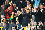 Picture by Paul Chesterton/Focus Images Ltd.  07904 640267.21/01/12.Norwich City's Joint Majority Shareholder Delia Smith celebrates her teams well earned point at the end of the Barclays Premier League match at Carrow Road Stadium, Norwich.