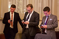 LONDON, ENGLAND - Tuesday, December 8, 2015: The Anfield Wrap's  Gareth Roberts, Mike Girling and Any Heaton at the Football Supporters' Federation Awards Dinner 2015 at the St. Pancras Renaissance Hotel. (Pic by David Rawcliffe/Propaganda)