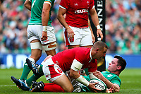 Rugby Union - 2019 pre-Rugby World Cup warm-up (Guinness Summer Series) - Ireland vs. Wales<br /> <br /> Hadleigh Parkes (Wales) goes over for his sides first try at The Aviva Stadium.<br /> <br /> COLORSPORT/KEN SUTTON