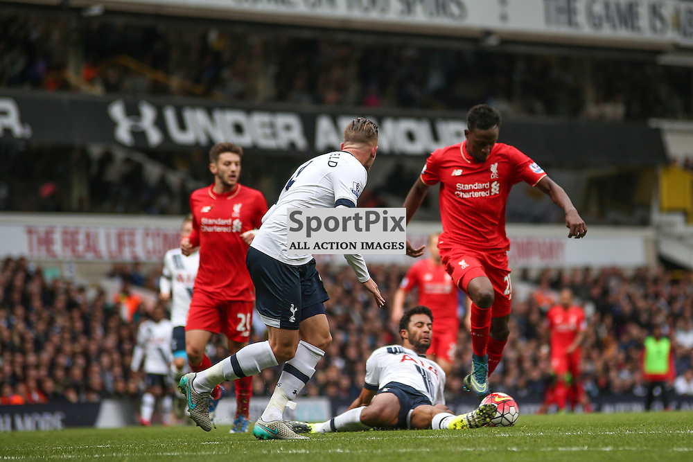 Moussa Dembele makes a great challenge during Tottenham Hotspur vs Liverpool on Saturday 17th of October 2015.