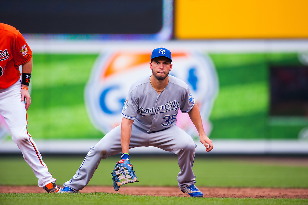 BALTIMORE, MD - MAY 26: Eric Hosmer #35 of the Kansas City Royals defends his position during the game against the Baltimore Orioles at Oriole Park at Camden Yards on May 26, 2012 in Baltimore, Maryland. (Photo by Rob Tringali) *** Local Caption *** Eric Hosmer
