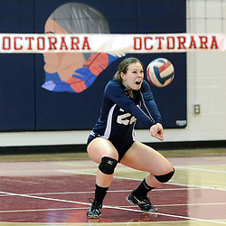 Photos by Tom Kelly IV<br /> Octorara's (22) plays off a serve during the Downingtown East vs Octorara volleyball game at Octorara on Wednesday October 16, 2013.
