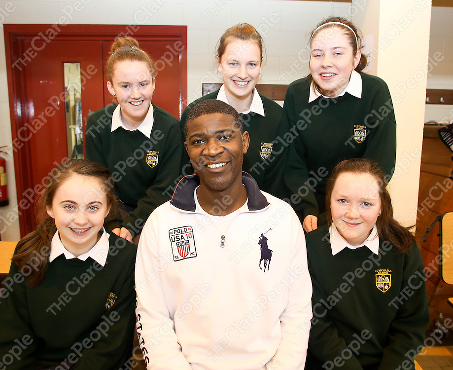 05.03.13 <br /> Tura (Cuthbert Alture) originally from Zimbabwe workshop in St Michael's Community College in Kilmihil as part of Seachtain na Gaeilge. Attendning the event were students, Orla Daly, Sarah Keating, Ciara Coughlan, Caoimhe Browne and Katie O'Connell with Tura.<br /> Pic. Alan Place / Press 22