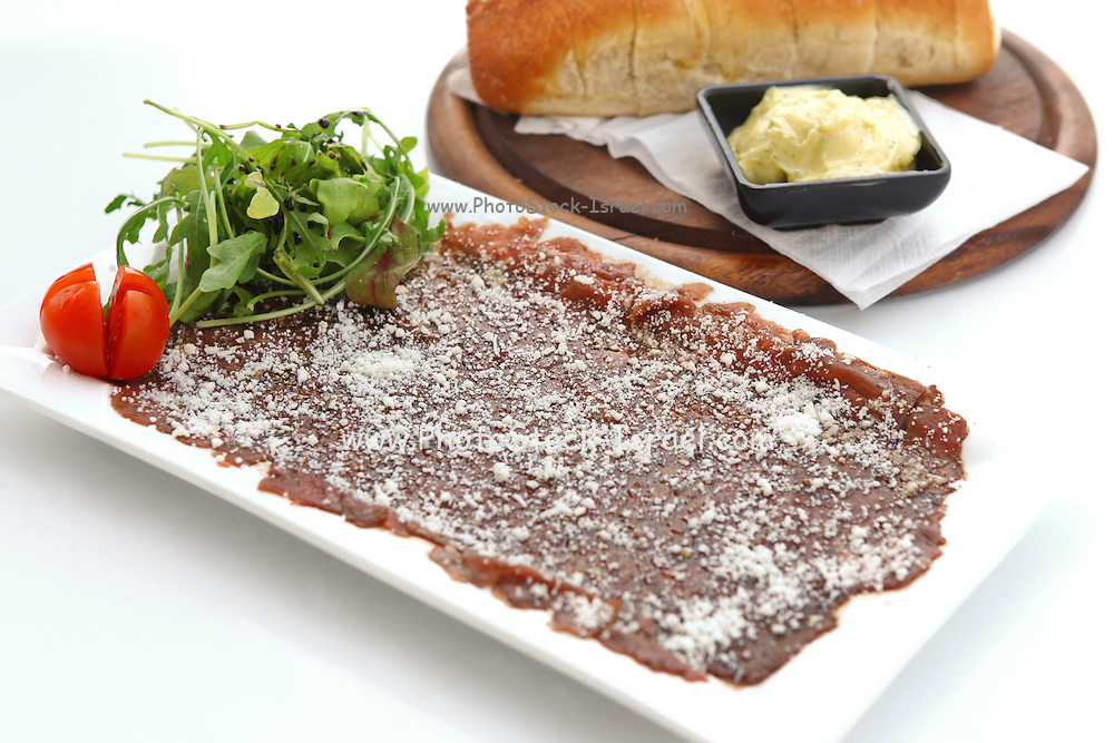 Beef carpaccio with Parmesan Cheese bread and butter
