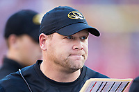 FAYETTEVILLE, AR - NOVEMBER 24:  Head Coach Barry Odom of the Missouri Tigers on the sidelines during a game against the Arkansas Razorbacks at Razorback Stadium on November 24, 2017 in Fayetteville, Arkansas.  The Tigers defeated the Razorbacks 48-45.  (Photo by Wesley Hitt/Getty Images) *** Local Caption *** Barry Odom
