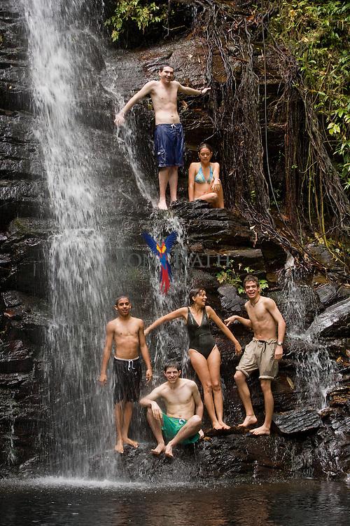 Tourist at Maya King Waterfall, Stann Creek, Belize