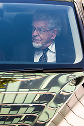 London, May 22nd 2017. Convicted paedophile Rolf Harris leaves Southwark Crown court after appearing in person at his trial on further sexual offences charges where it is alleged he groped a 13-year old girl in 1983. It is the first time he has appeared in person at the trial having perviously been attending via video link, following his release from prison where he has been serving time for previous convictions on sex charges.