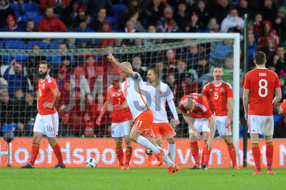 Arjen Robben of The Netherlands celebrates his goal - Mandatory byline: Dougie Allward/JMP - 07966 386802 - 13/11/2015 - FOOTBALL - Cardiff City Stadium - Cardiff, Wales - Wales v Netherlands - International Friendly