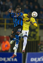 20.10.2011, Jan-Breydel Stadion, Bruegge, BEL, UEFA EL, Gruppe H, FC Bruegge (BEL) vs Birmingham City (ENG), im Bild  Birmingham City's Guirane N'daw in action against Club Brugge's Joseph Akpala during the UEFA Europa League Group H match at the Jan Breydelstadion.  // during UEFA Europa League group H match between FC Bruegge (BEL) vs Birmingham City (ENG), at Jan-Breydel Stadium, Brugge, Belgium on 20/10/2011. EXPA Pictures © 2011, PhotoCredit: EXPA/ Propaganda Photo/ David Rawcliff +++++ ATTENTION - OUT OF ENGLAND/GBR+++++