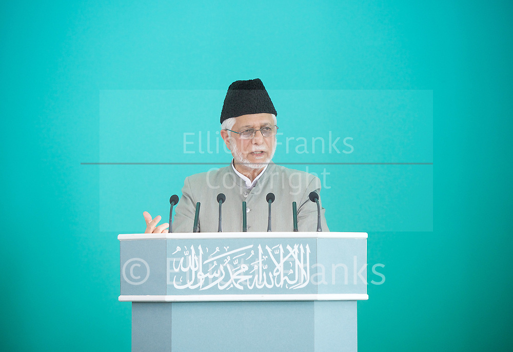 Imam Ata Ul Mujeeb Rashid <br /> speaks at the Baitul Futuh Mosque, at an event to commemorate the establishment of The Ahmadiyya Caliphate, a non-political caliphate established on May 27, 1908. &nbsp;<br /> <br /> Following on from the tragic events in Manchester, Ed discussed the events in Manchester and reasserted the importance of traditional liberal values in defeating extremism.&nbsp;<br /> <br /> 27th May 2017 <br /> at the Baitul Futuh Mosque, Morden, Surrey <br /> <br /> <br /> Photograph by Elliott Franks <br /> Image licensed to Elliott Franks Photography Services
