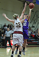 Cornell's Caitlin Bisinger (10) puts up a shot around Coe's Mary Halvorson during their Iowa Conference semifinal game at Eby Fieldhouse in Cedar Rapids on Thursday evening, February 23, 2012. Coe won 69-58. (Stephen Mally/Freelance)