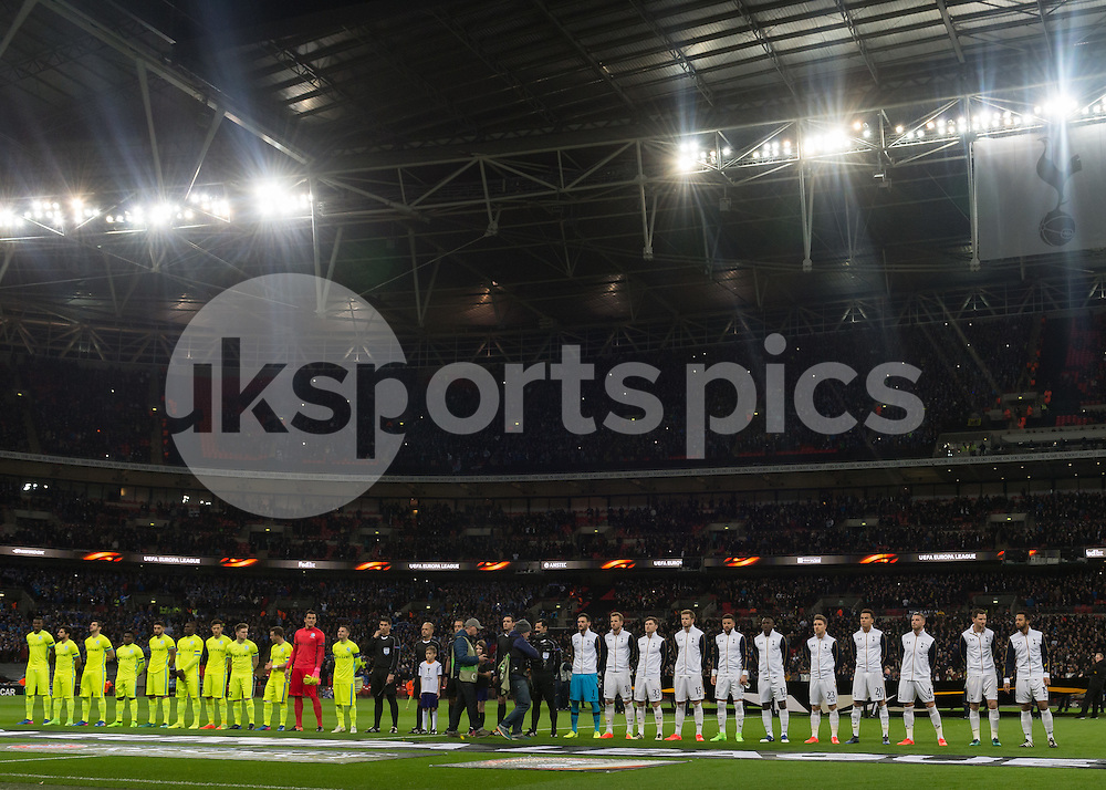 Tottenham Hotspur and KAA Gent Line up during the UEFA Europa League  Round of 32 Game 2 match between Tottenham Hotspur and Gent at Wembley Stadium, London, England on 23 February 2017. Photo by Vince  Mignott.