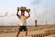 Child Labor:  A child labor at work the brick field outskirts of Dhaka, Banglaesh. Most o the children work this hazardous job for their family's support. Monirul Alam
