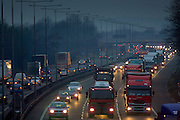 London-bound traffic on M1 Motorway in Northampton, United Kingdom.