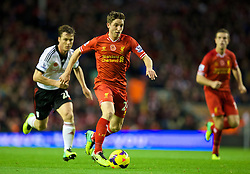09.11.2013, Anfield, Liverpool, ENG, Premier League, FC Liverpool vs FC Fulham, 11. Runde, im Bild Liverpool's Joe Allen, action against Fulham // during the English Premier League 11th round match between Liverpool FC and Fulham FC at Anfield in Liverpool, Great Britain on 2013/11/09. EXPA Pictures © 2013, PhotoCredit: EXPA/ Propagandaphoto/ David Rawcliffe<br /> <br /> *****ATTENTION - OUT of ENG, GBR*****