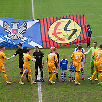 St Johnstone v Motherwell.....19.05.13      SPL<br /> The players shake hands before kick off with a back drop of a new St Johnstone Eskisehirspor flag.<br /> Picture by Graeme Hart.<br /> Copyright Perthshire Picture Agency<br /> Tel: 01738 623350  Mobile: 07990 594431