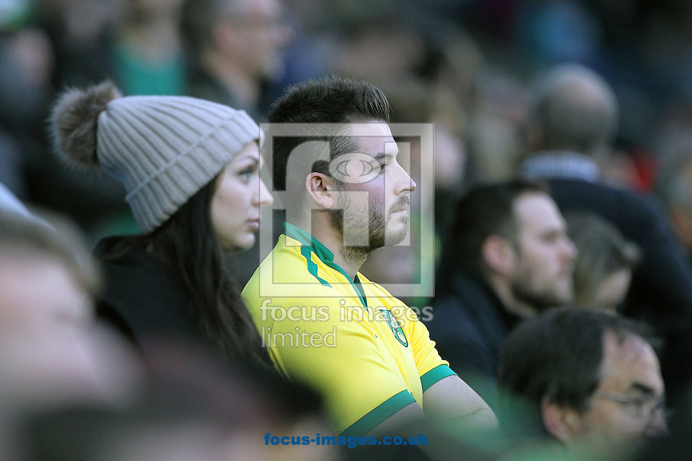 The traveling Norwich fans look dejected after their side concedes it&rsquo;s 5th goal during the Sky Bet Championship match at the American Express Community Stadium, Brighton and Hove<br /> Picture by Paul Chesterton/Focus Images Ltd +44 7904 640267<br /> 29/10/2016