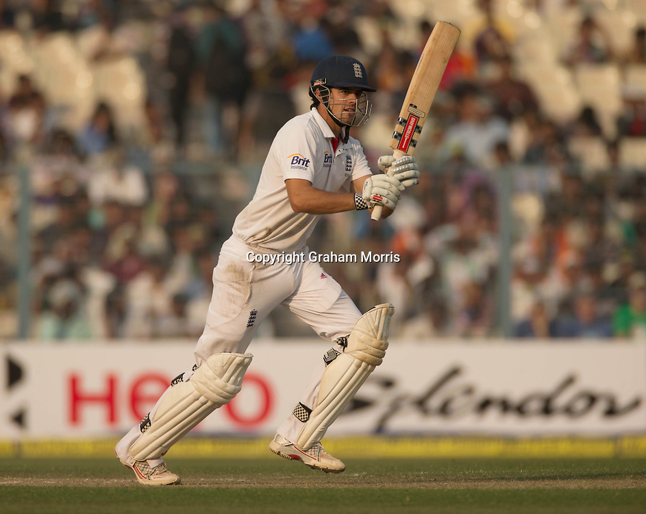 Alastair Cook during his 23rd Test century (a new England record) in the third Test Match between India and England at Eden Gardens, Kolkata. Photo: Graham Morris (Tel: +44(0)20 8969 4192 Email: sales@cricketpix.com) 06/12/12