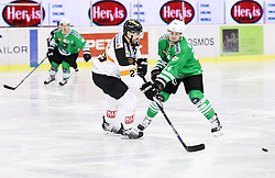14.10.2016, Hala Tivoli, Ljubljana, SLO, EBEL, HDD Olimpija Ljubljana vs Moser Medical Graz 99ers, 9. Runde, im Bild Matthew Pelch (Graz 99ers), Bussieres Raphael (HDD Olimpija) // during the Erste Bank Icehockey League 9th round match between HC Orli Znojmo and Moser Medical Graz 99ers at the Hala Tivoli in Ljubljana, Slovenia on 2016/10/14. EXPA Pictures © 2016, PhotoCredit: EXPA/ Sportida/ Vid Ponikvar<br /> <br /> *****ATTENTION - OUT of SLO, FRA*****