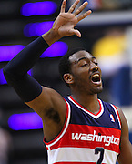 March 29, 2012; Indianapolis, IN, USA; Washington Wizards point guard John Wall (2) shouts at his teammates against the Indiana Pacers at Bankers Life Fieldhouse. Indiana defeated Washington 93-89. Mandatory credit: Michael Hickey-US PRESSWIRE