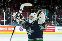 KELOWNA, CANADA - JANUARY 30:  Roddy Ross #1 of the Seattle Thunderbirds celebrates the OT win against the Kelowna Rockets on January 30, 2019 at Prospera Place in Kelowna, British Columbia, Canada.  (Photo by Marissa Baecker/Shoot the Breeze)