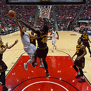 10 December 2016: The San Diego State Aztecs men's basketball team host's Saturday afternoon at Viejas Arena. San Diego State guard Trey Kell (3) has his shot blocked by Arizona State center Jethro Tshisumpa (42) in the first half. The Aztecs fell to the Sun Devils 74-63. www.sdsuaztecphotos.com