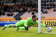 Port Vale goalkeeper Denise Mehmet (1) saves AFC Wimbledon midfielder Dean Parrett (18) shot from going over the line after spilling his shot during the EFL Sky Bet League 1 match between Port Vale and AFC Wimbledon at Vale Park, Burslem, England on 1 April 2017. Photo by Simon Davies.