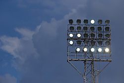 WREXHAM, WALES - Monday, May 2, 2016: Clouds behind floodlights during the 129th Welsh Cup Final between Airbus UK Broughton and The New Saints at the Racecourse Ground. (Pic by David Rawcliffe/Propaganda)