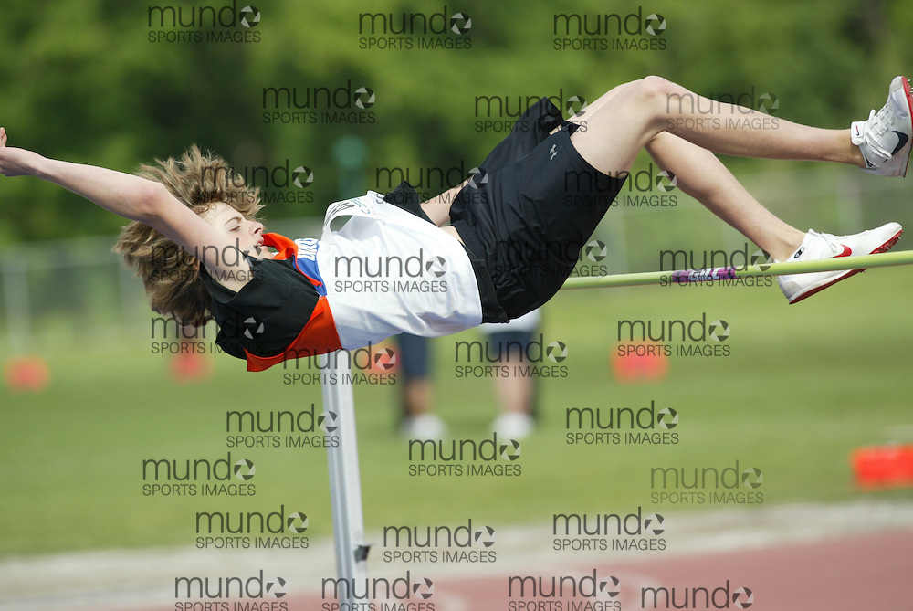 (London, Ontario}---04 June 2010) \\ the high jump at the 2010 OFSAA Ontario High School Track and Field Championships. Photograph copyright Sean Burges / Mundo Sport Images, 2010.
