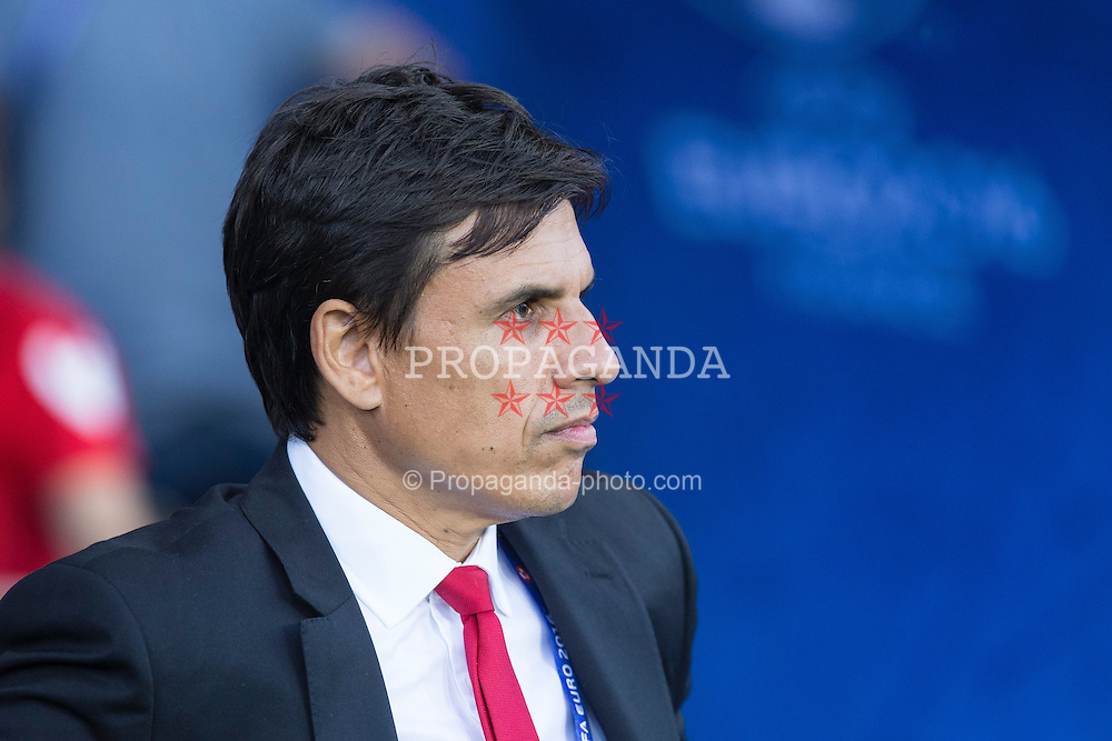 TOULOUSE, FRANCE - Monday, June 20, 2016: Wales manager Chris Coleman ahead of the final Group B UEFA Euro 2016 Championship match against Russia at Stadium de Toulouse. (Pic by Paul Greenwood/Propaganda)