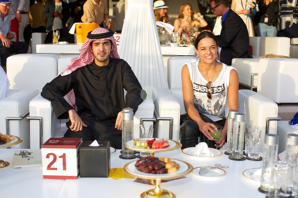 Fast and Furious star Michelle Rodriguez with HH Sheikh Mohamed bin Sultan bin Hamdan Al Nayhan  at the Julius Baer Beach Polo Cup 2014.