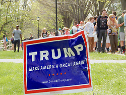 People are seen waiting in line for hours as they try to enter the April 25, 2016 campaign event of Donald Trump at West Chester University. Trump-Supporters and anti-Trump protestors face each other outside a rally of the Republican candidate, held at the campus of West Chester University in West Chester, Pennsylvania a day ahead of the Pennsylvania Primary.