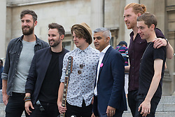 Trafalgar Square, London, July 22nd 2016. International Busking Day is launched in London by Mayor Sadiq Khan together with Jessie Ware, Tinchy Strider, Irish band Keywest and The Vamps. PICTURED: Mayor of London Sadiq Khan poses with Dublin band Keywest.<br /> <br /> &copy;Paul Davey<br /> FOR LICENCING CONTACT: Paul Davey +44 (0) 7966 016 296 or 020 8969 6875 paul@pauldaveycreative.co.uk