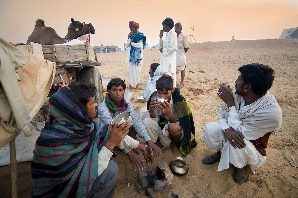 Traders at the huge cattle and camel fair in Pushkar, Thar desert, Rajasthan, India.