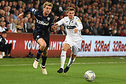 Leeds United forward Patrick Bamford (9) on the attack during the EFL Sky Bet Championship match between Swansea City and Leeds United at the Liberty Stadium, Swansea, Wales on 21 August 2018.