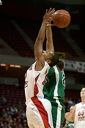 13 November 2005:  Tiffany Hudson gets blocked late in the game at the end of a fast break. With a final score was 93-58, the Illinois State University Redbirds overcome the Bearcats of Northwest Missouri State in an exhibition match up Sunday afternoon at Redbird Arena in Normal Illinois.  The final score was 93-58.