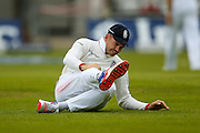 England & Lancashire bowler James Jimmy Anderson feels a knock as the ball hits him during day 2 of the first Investec Test Series 2016 match between England and Sri Lanka at Headingley Stadium, Headingley, United Kingdom on 20 May 2016. Photo by Simon Davies.