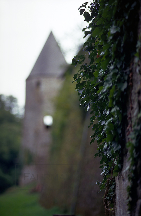 A romantic style castle tower forms the backdrop for this image of a wall of the fortified structure.