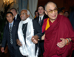 BRUSSELS, BELGIUM - JUNE-01-2006 - The Dalai Lama Nobel Peace Prize Winner in 1989 and Bishop Desmond Tutu Nobel Peace Prize Winner in 1984 meet in Brussels during the Dalai Lama's five-day visit to Belgium. The Dalai Lama presented Bishop Tutu with the International Campaign for Tibet's Light of Truth Award at a ceremony in Brussels June 1, 2006..(PHOTO © JOCK FISTICK)