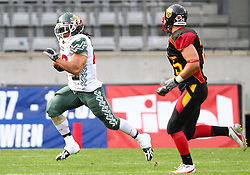 08.07.2011, Tivoli Stadion, Innsbruck, AUT, American Football WM 2011, Group A, Germany (GER) vs Mexico (MEX), im Bild Oliver Radke (Germany, #25, DB) cannot follow Barrera Jonathan alejandro (Mexico, #23, RB)  // during the American Football World Championship 2011 Group A game, Germany vs Mexico, at Tivoli Stadion, Innsbruck, 2011-07-08, EXPA Pictures © 2011, PhotoCredit: EXPA/ T. Haumer