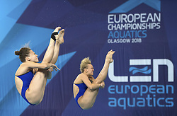 Russia's Kristina Ilinykh (left) and Nadezhda Bazhina competing in the Women's Synchronised 3m Springboard Final during day eleven of the 2018 European Championships at the Royal Commonwealth Pool, Edinburgh. PRESS ASSOCIATION Photo. Picture date: Sunday August 12, 2018. See PA story DIVING European. Photo credit should read: Ian Rutherford/PA Wire. RESTRICTIONS: Editorial use only, no commercial use without prior permission