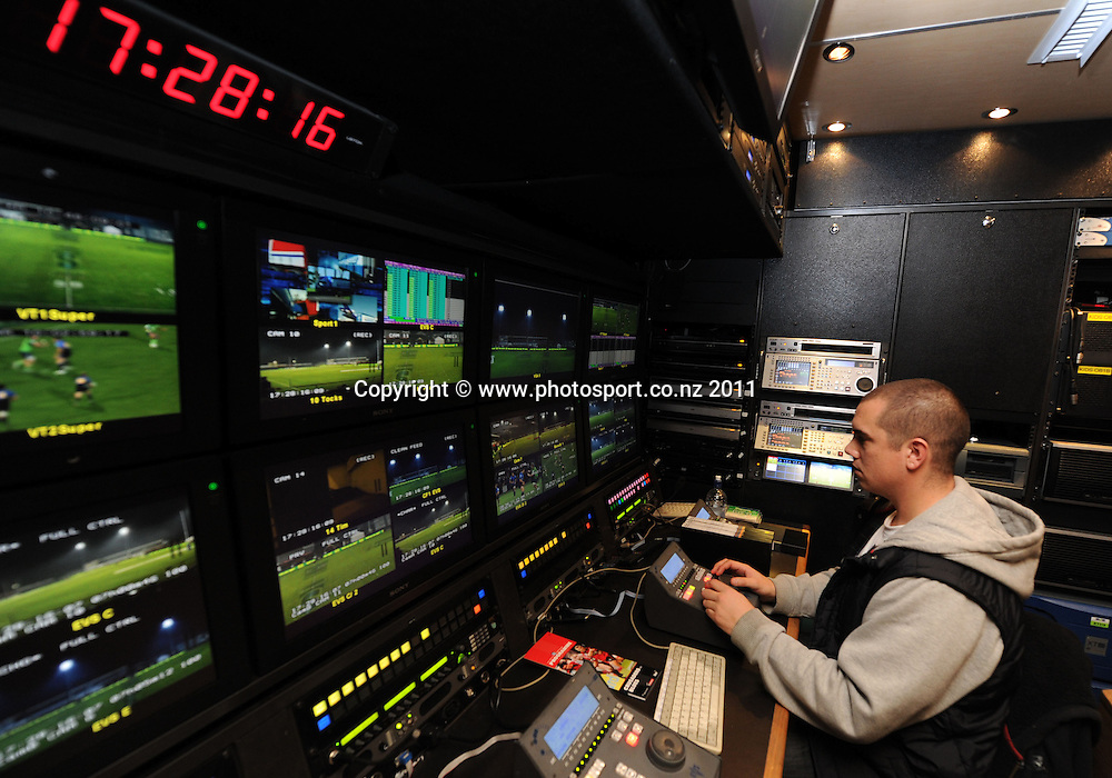 Sky TV staff and the OB Broadcasting Truck ahead of the match between the Crusaders and Blues at Alpine Energy Stadium, Timaru. 11 June 2011. Auckland, New Zealand. Photo: Andrew Cornaga / photosport.co.nz