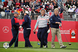 Europe's Nigel Lythgoe (right) and USA's Bill Murray (centre) during a celebrity golf match ahead of the 41st Ryder Cup at Hazeltine National Golf Club in Chaska, Minnesota, USA.