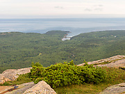 View of Otter Cove and Frenchman Bay from atop Cadillac Mountain, Acadia National Park, Maine, USA.
