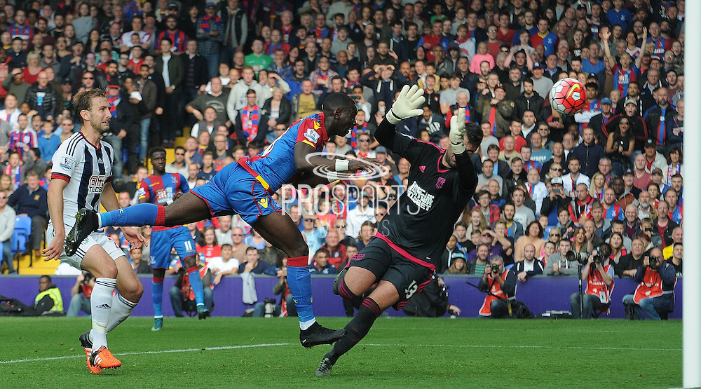 Yannick Bolasie heads in Palace's opener during the Barclays Premier League match between Crystal Palace and West Bromwich Albion at Selhurst Park, London, England on 3 October 2015. Photo by Michael Hulf.