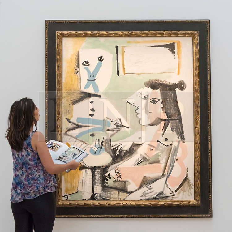 © Licensed to London News Pictures. 14/06/2018. LONDON, UK. ''Le Peintre Et Son Modèle'' by Pablo Picasso, (Est. £7,500,000 - 9,500,000). Preview of Impressionist & Modern and Contemporary art sales, which will take place at Sotheby's New Bond Street on 19 and 26 June 2018 respectively.  Photo credit: Stephen Chung/LNP
