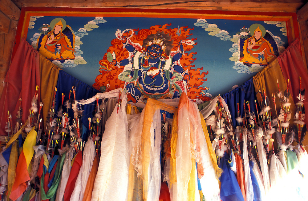 Pilgrims devote prayer scarves to the Buddhist divinities.LAMBRANG MONASTERY IN XIAHE - CHINA.copyright: Androniki Christodoulou